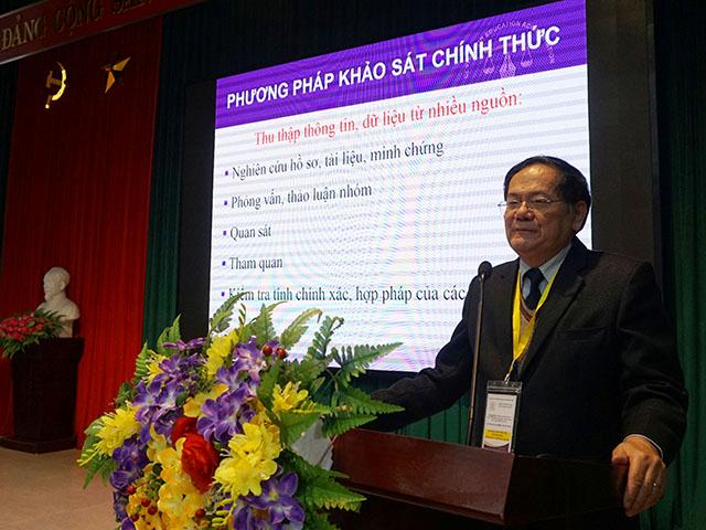 GS.TSKH. Đặng Ứng Vận phát biểu ý kiến tại Lễ Bế mạc đợt KSCT phục vụ ĐGN Trường Đại học Nông - Lâm Bắc Giang