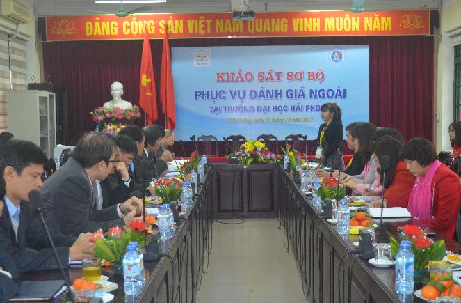 PGS.TS. Nguyễn Phương Nga – Giám đốc TT KĐCLGD phát biểu tại phiên Khảo sát sơ bộ Trường Đại học Hải Phòng